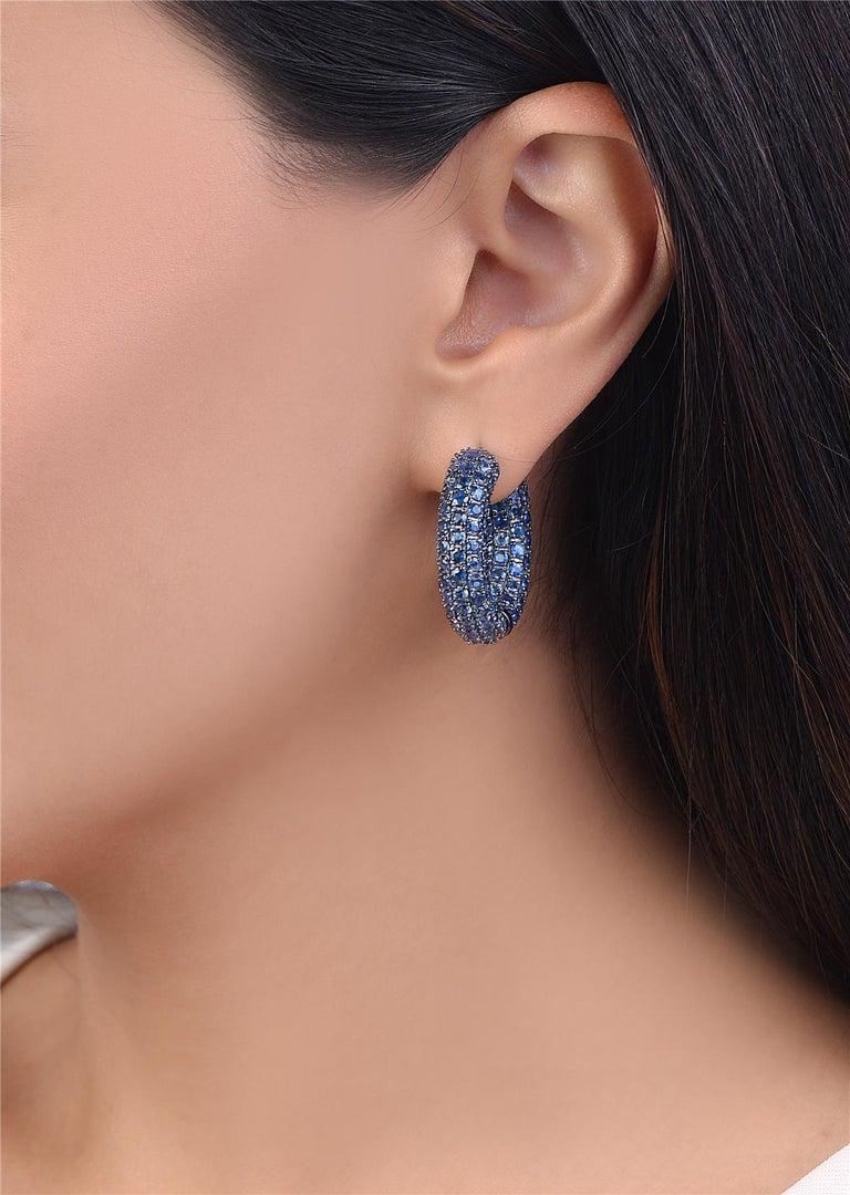 Women's Sapphire Hoop Earrings in Black Rhodium Gold For Sale