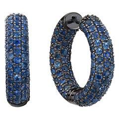 Sapphire Hoop Earrings in Black Rhodium Gold