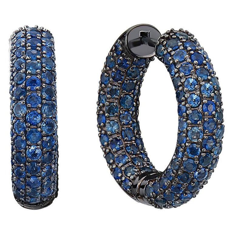 Sapphire Hoop Earrings in Black Rhodium Gold For Sale
