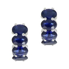Sapphire Huggie White Gold Earrings