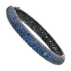 Sapphire in Black Rhodium Gold Bangle Bracelet