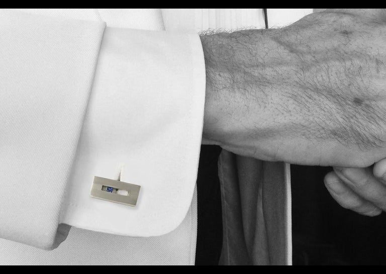 Princess Cut Sapphire in White Gold Suspended Rectangle Cufflinks For Sale