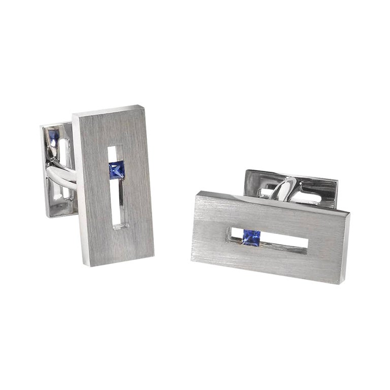 Sapphire in White Gold Suspended Rectangle Cufflinks For Sale
