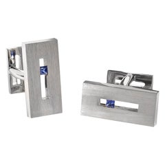 Sapphire in White Gold Suspended Rectangle Cufflinks