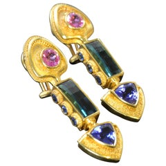 Sapphire, Indicolite Tourmaline, Tanzanite 18 karat gold Granulation Earrings