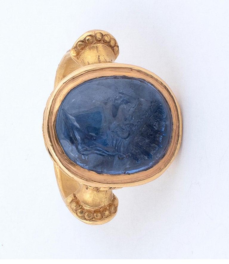Sapphire Intaglio Ring Late 18th Century Roman Emperor Caligola 4