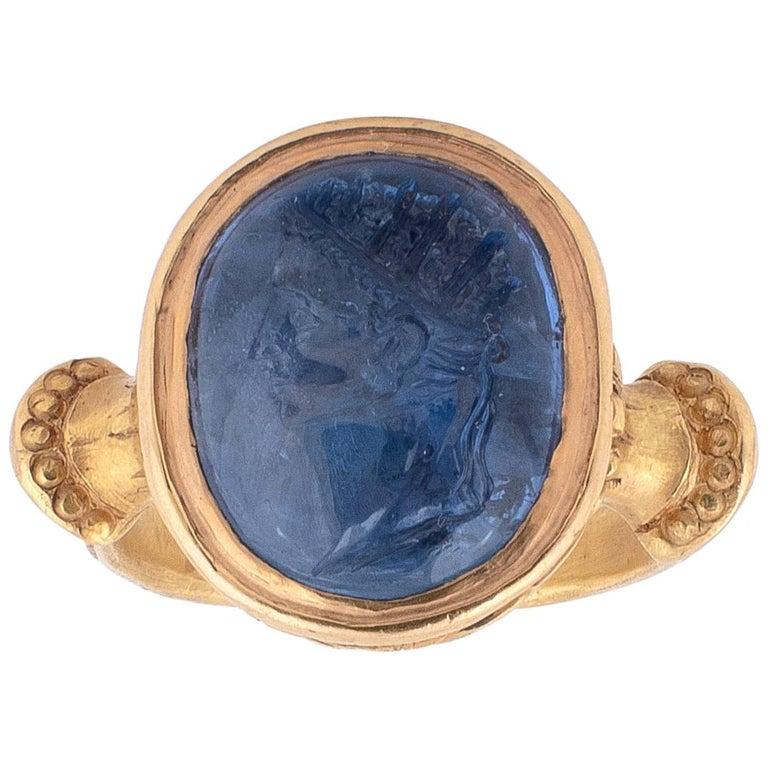 Sapphire Intaglio Ring Late 18th Century Roman Emperor Caligola 1