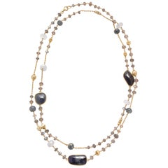 Sapphire Labradorite and Chalcedony Vermeil Chain Link Necklace