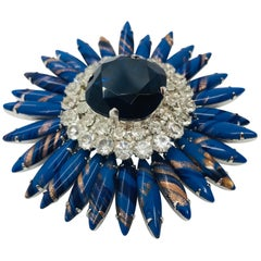"""Sapphire, Lapis and Clear Austrian Crystal """"Ruffle"""" Brooch"""