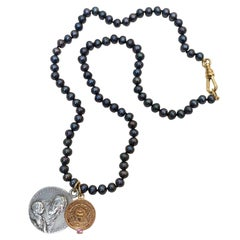 Sapphire Medal Choker Pearl Bead Necklace Virgin Mary Vintage J Dauphin