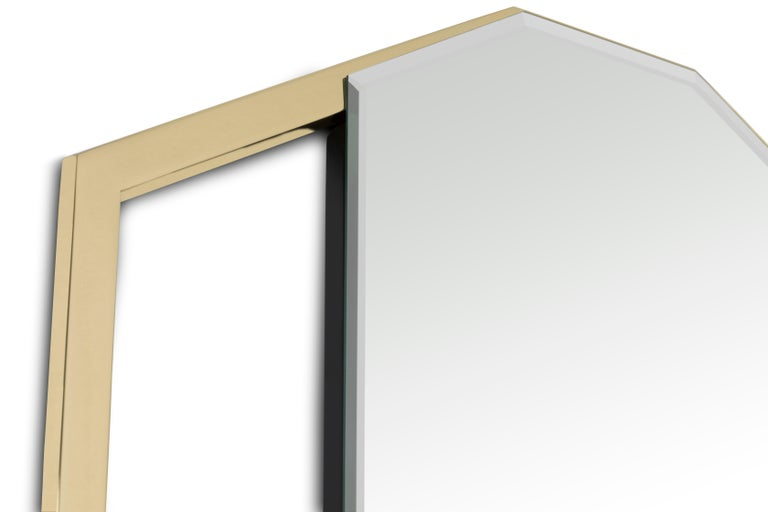 Modern Sapphire Mirror with Polished Brass Structure For Sale