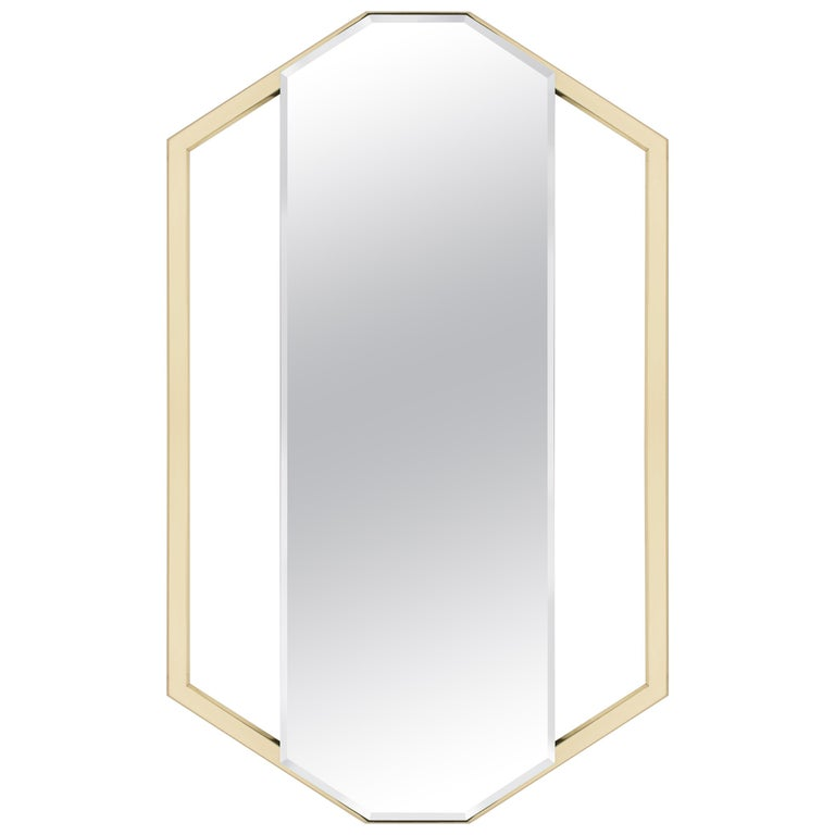 Sapphire Mirror with Polished Brass Structure For Sale
