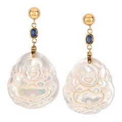 Sapphire Mother of Pearl 18 Karat Gold Earrings
