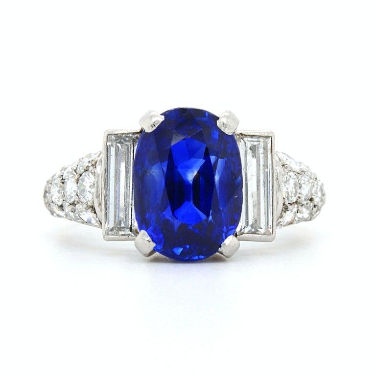 Sapphire 'No Heat' and Diamond Art Deco Ring, France, circa 1920s 5