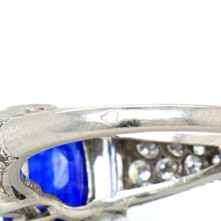 Sapphire 'No Heat' and Diamond Art Deco Ring, France, circa 1920s 7