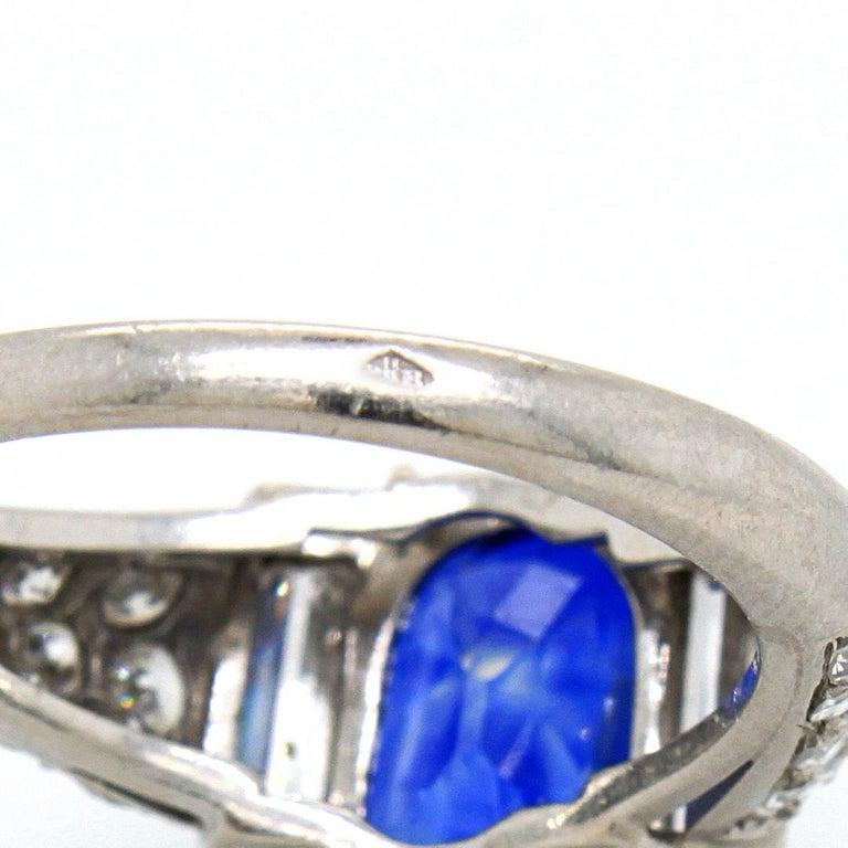 Sapphire 'No Heat' and Diamond Art Deco Ring, France, circa 1920s 8