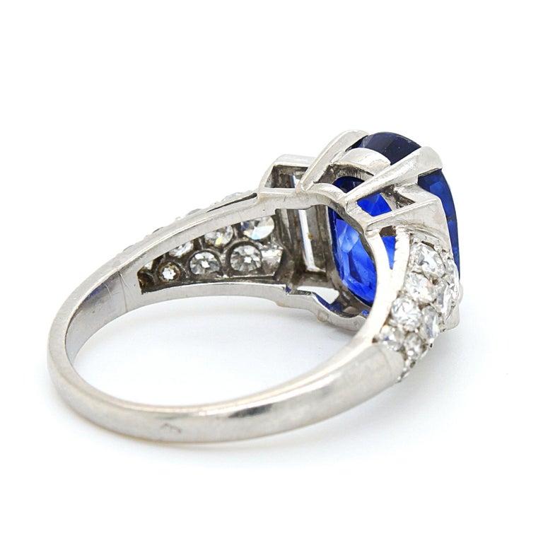 Sapphire 'No Heat' and Diamond Art Deco Ring, France, circa 1920s In Excellent Condition In Idar-Oberstein, DE