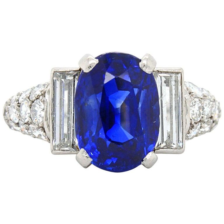 Sapphire 'No Heat' and Diamond Art Deco Ring, France, circa 1920s
