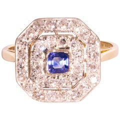 Sapphire Old Cut Diamond 18 Carat White Yellow Gold Ring