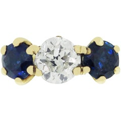 Sapphire Old Euro Diamond Ring