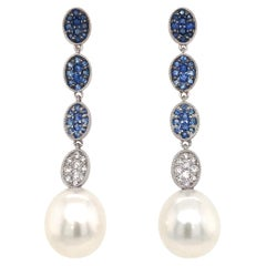 Sapphire Ombree Diamond South Sea Pearl Drop Earrings 1.72 Carat 18 Karat