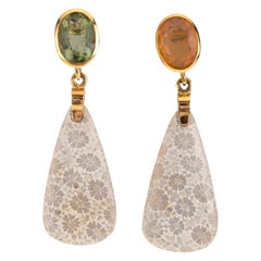 Sapphire Opal Coral 18 Karat Gold Earring