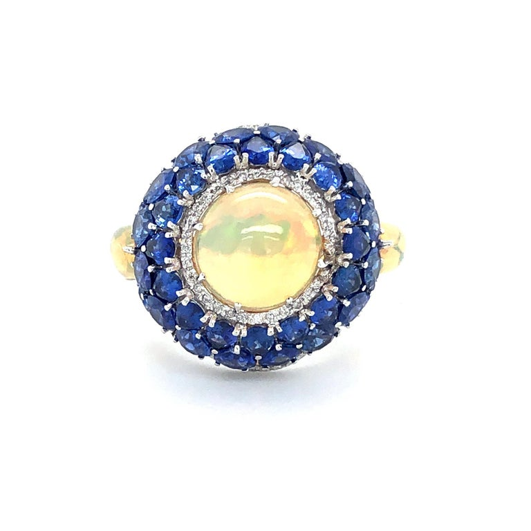 Sapphire and Opal Diamond Ring 18 Karat Gold For Sale 1
