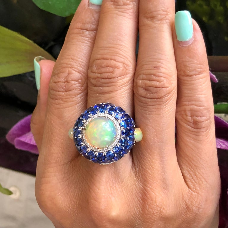 Sapphire and Opal Diamond Ring 18 Karat Gold For Sale 4