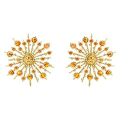 Sapphire Orange 9 Karat Yellow Gold Soleil Stud Earrings Natalie Barney