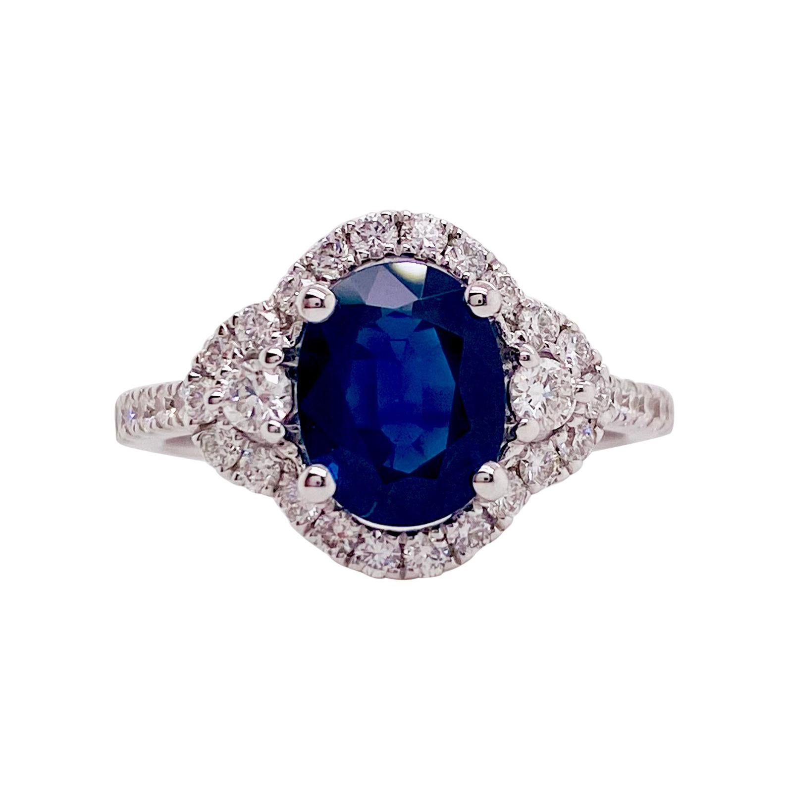 Sapphire Oval Diamond Engagement Ring, 2.65 Carats Sapphire and Diamond Ring