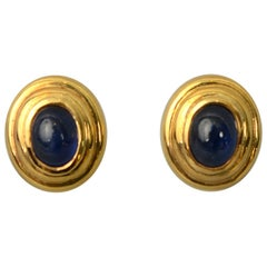 Sapphire Oval Gold Earrings