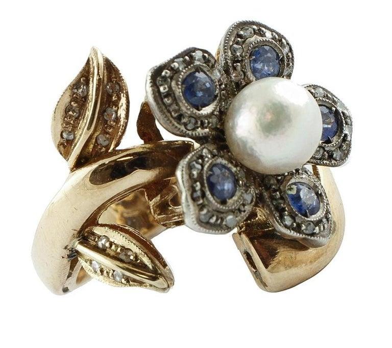 Retro Sapphire Pearl Diamond Silver Gold Daisy Ring For Sale
