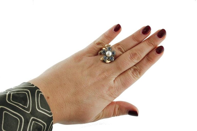 Sapphire Pearl Diamond Silver Gold Daisy Ring In Good Condition For Sale In Marcianise, Caserta