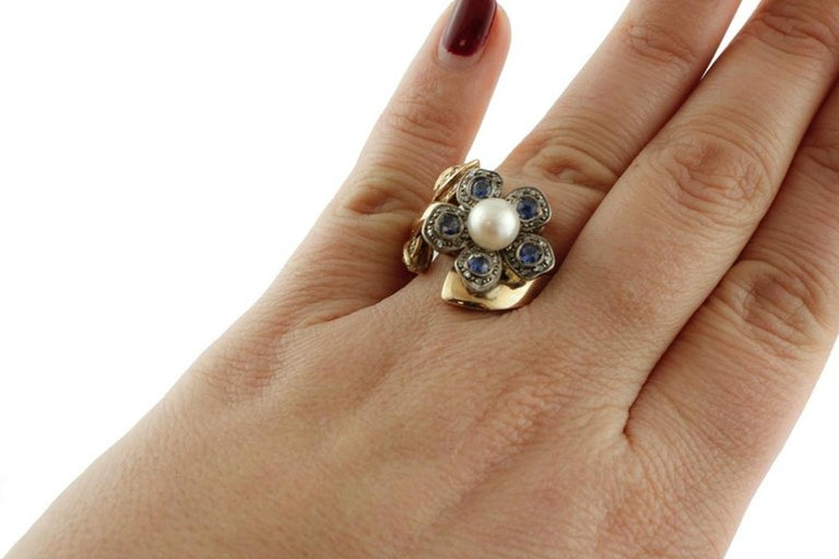 Women's Sapphire Pearl Diamond Silver Gold Daisy Ring For Sale