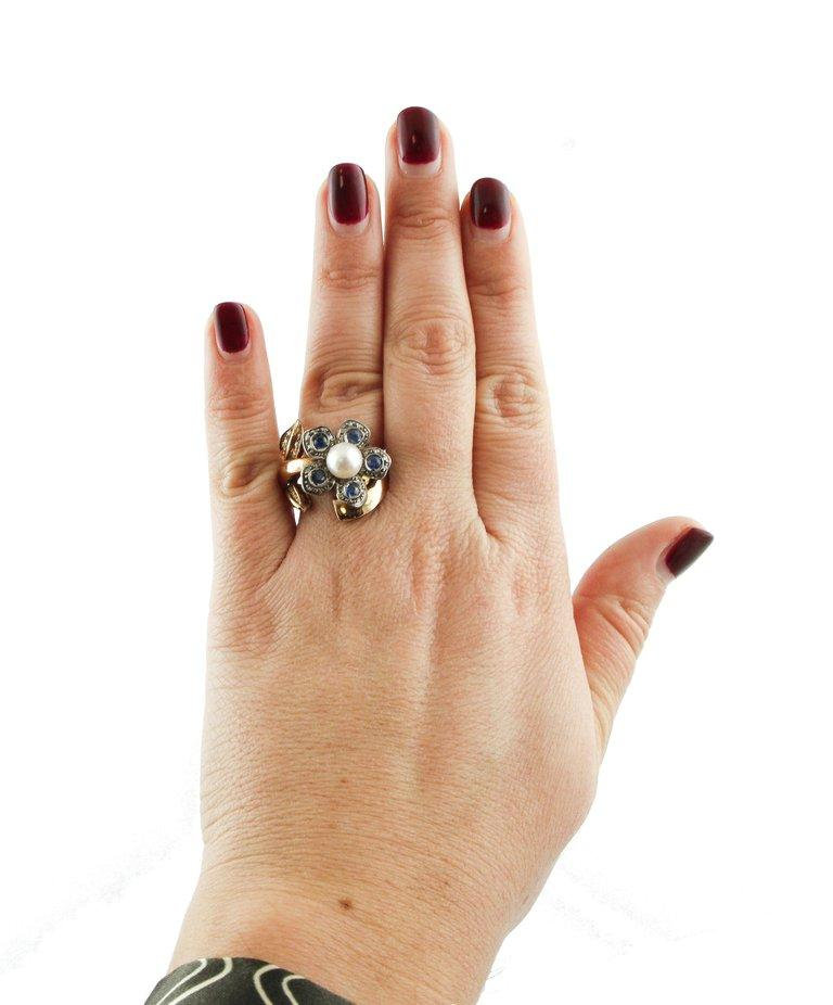 Sapphire Pearl Diamond Silver Gold Daisy Ring For Sale 1