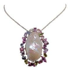 Sapphire Pearl Necklace 14 Karat 5 Carat Certified
