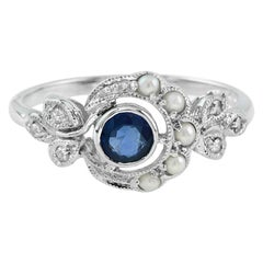 Sapphire Pearl Rose Cut Diamond Cocktail Ring