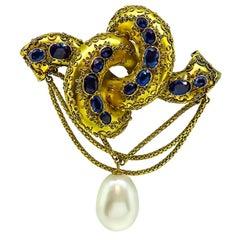 Sapphire Pearl Yellow Gold Pin