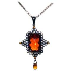 Kary Adam Designed, Sapphire Pendant Set in Blackened Silver