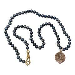 Sapphire Pink Black Pearl Necklace Medal Heart Choker Bronze J Dauphin
