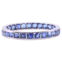 Sapphire Platinum Eternity Ring, circa 1930