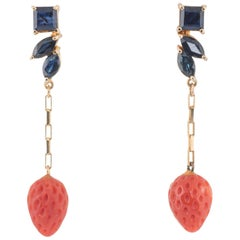 Sapphire Red Coral Strawberry Earrings Vintage 14 Karat Gold Estate Jewelry