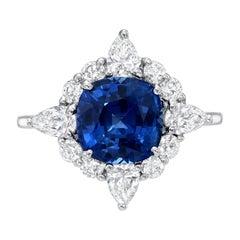 Sapphire Ring 3.92 Carat Cushion Cut