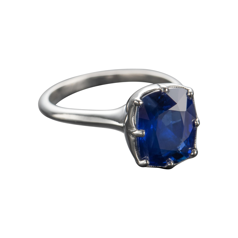 Sapphire Ring 4 Carat Certified No-Heat