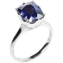 Sapphire Ring 4 Carat Certified No-Heat in Platinum Handmade One of a Kind