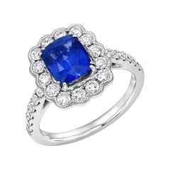 Sapphire Ring Diamond White Gold Cocktail Engagement Ring 2.20 Carat Cushion