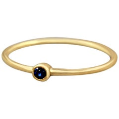 Sapphire Ring, Stackable Ring, Gold Sapphire 18 Karat Ring, Yellow Gold