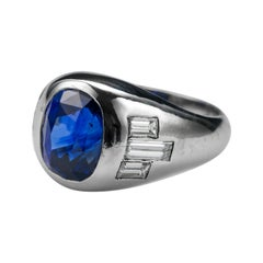 Sapphire Ring with Diamonds in Platinum, Circa 1950s Certified Heat-Only