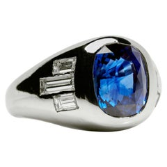 Sapphire Ring with Diamonds in Platinum, circa 1950s