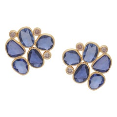 Sapphire Rose Cut and Diamond Earring Handcrafted in 22 Karat Yellow Gold